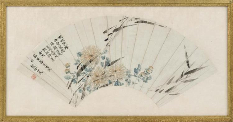 FAN PAINTING ON PAPER Depicting spider chrysanthemums. Marked with calligraphy and seal mark. Length 20.5