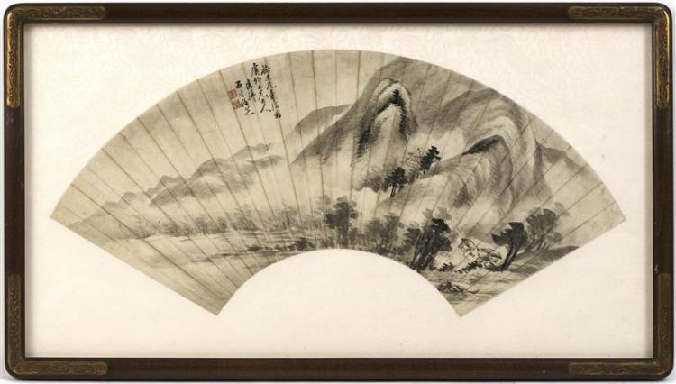 FAN PAINTING ON PAPER Depicting a monastery nestled beneath towering cliffs. Marked with calligraphy and two seal marks. Length 20.5...