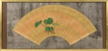 FAN PAINTING ON PAPER Depicting green leaves on a gold ground. Length 21.5