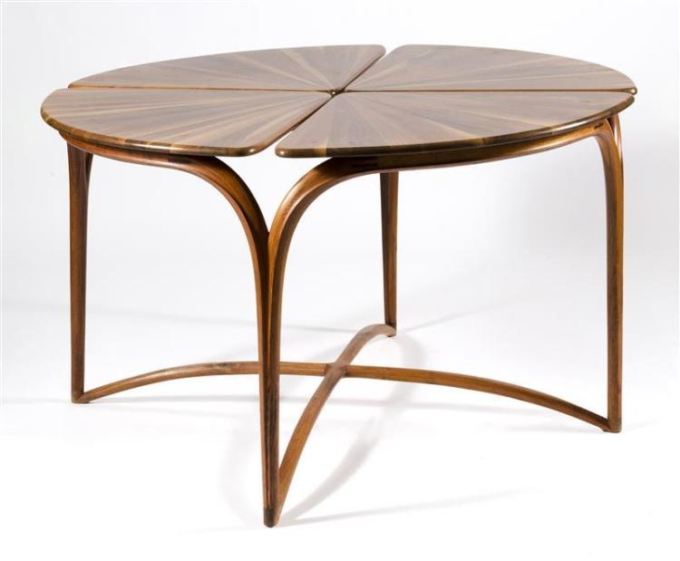 CRAIG MARKS FLORIFORM TABLE With bentwood base and laminated top. Diameter 52