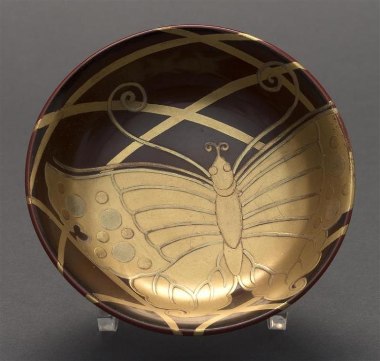 RED, BROWN, AND GOLD LACQUER BOWL With butterfly design on a brown ground. Diameter 4.5