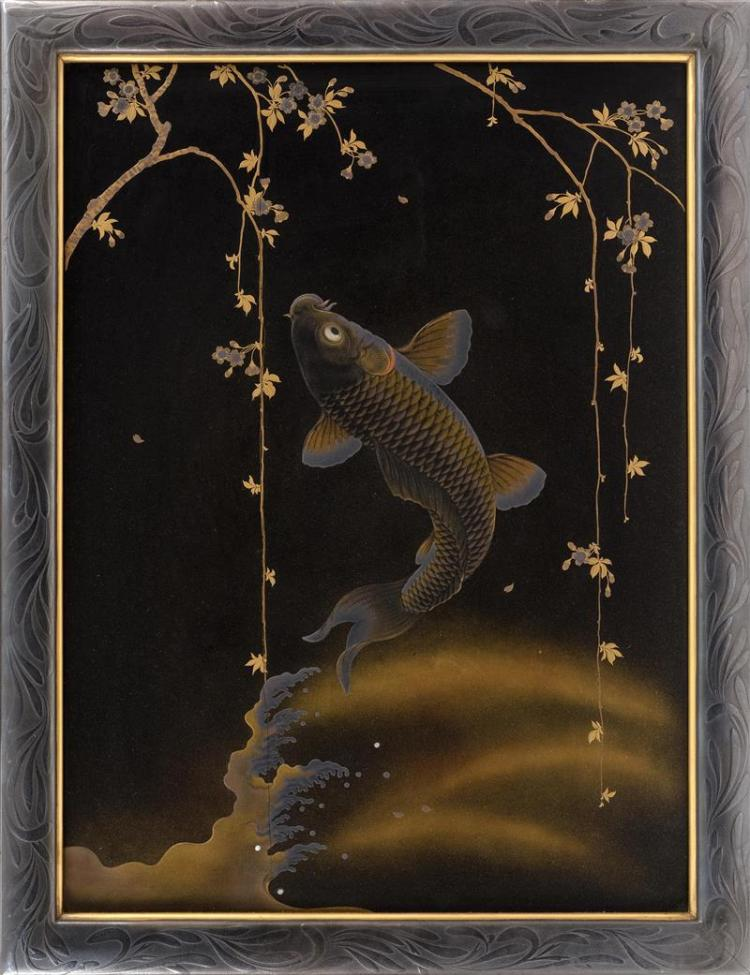 BLACK AND GOLD LACQUER PLAQUE WITH SILVER LACQUER FRAME Attributed to Zohiko. Depicting a leaping carp beneath cherry blossoms. Fine...