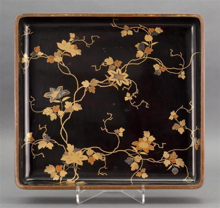BLACK AND GOLD LACQUER KIMONO TRAY In a flower and vine design. Copper rim. 20.75