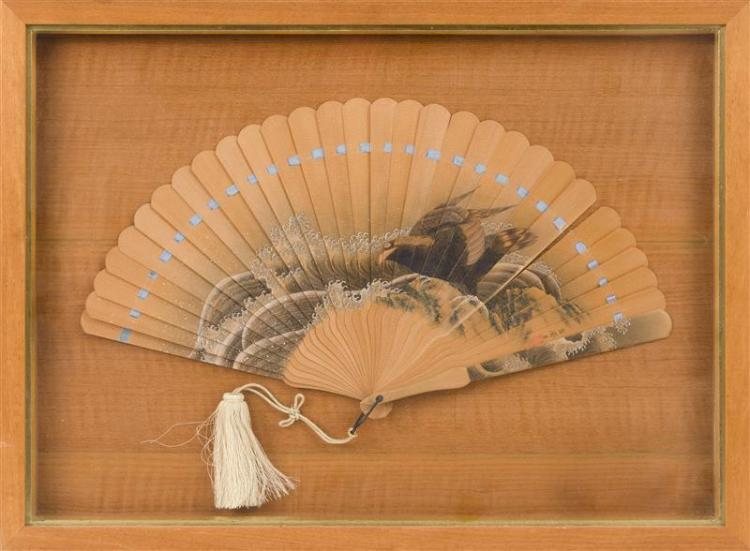 PAINTED WOOD FOLDING FAN Depicting a raven and curling waves. Signed and seal marked. Length 17.5