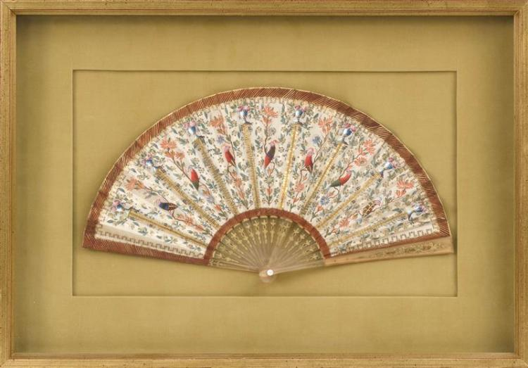 PAINTED SILK FOLDING FAN With exotic bird design. Length 15.5