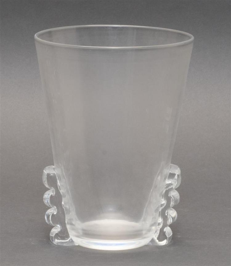 STEUBEN CLEAR GLASS VASE In conical form with applied handles at the base. Engraved signature. Height 7.5