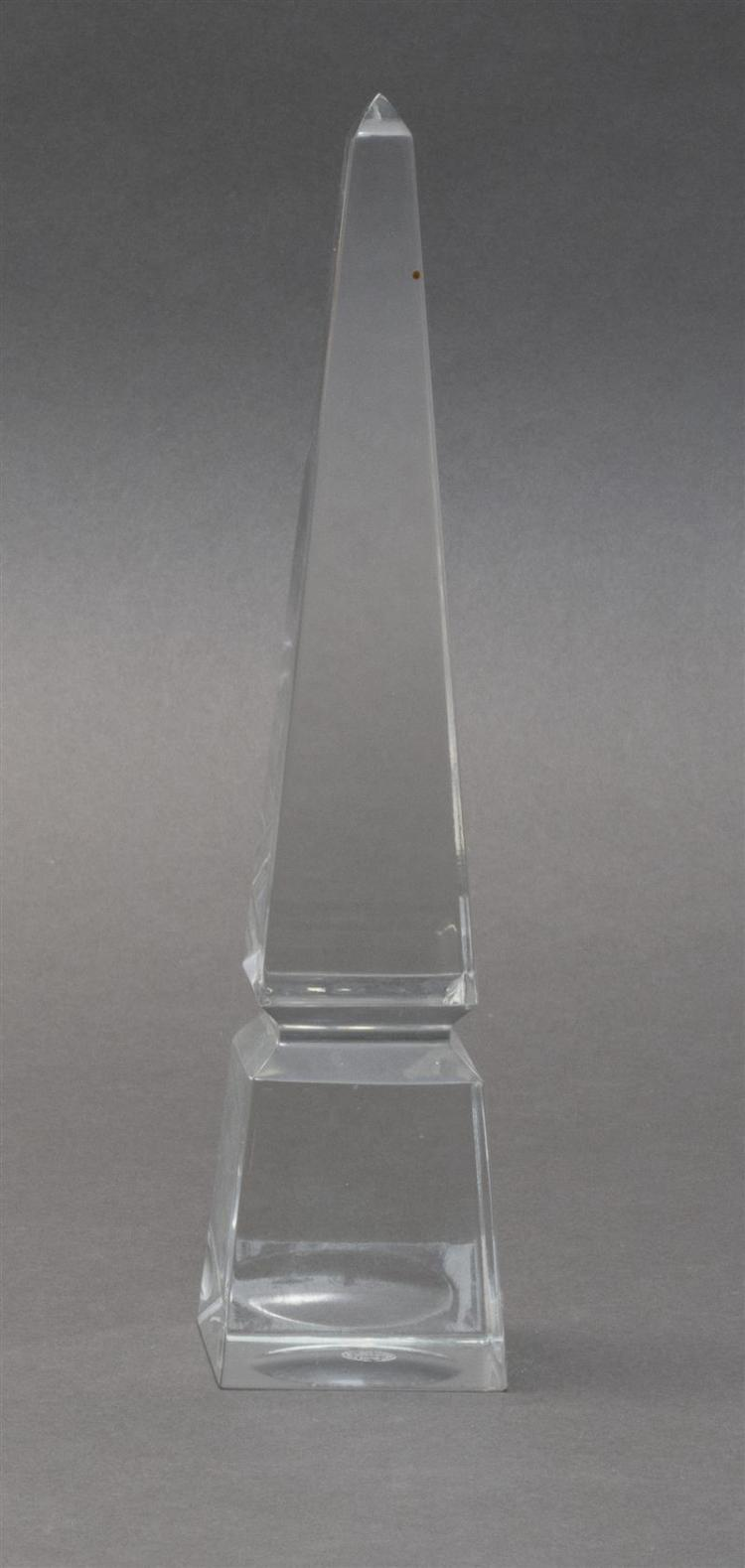 BACCARAT CLEAR GLASS OBELISK Acid-etched signature on base. Height 10