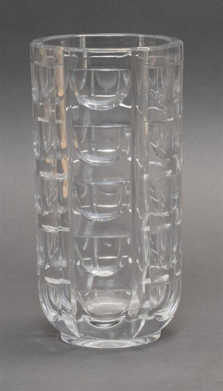 CLEAR GLASS VASE In cylinder form with crescent-form faceting. Height 9