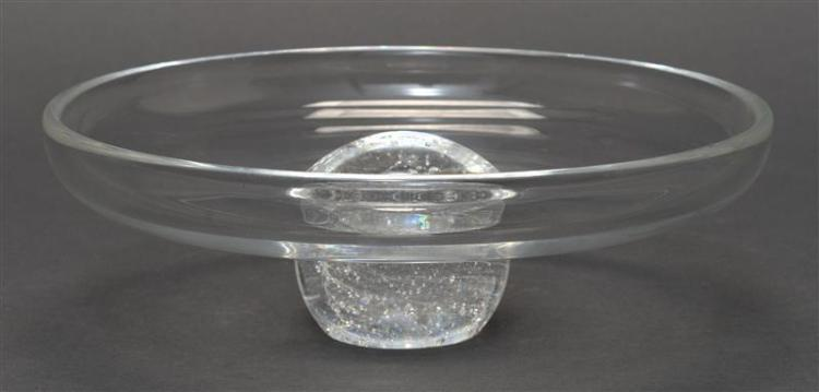 STEUBEN CLEAR GLASS FOOTED DISH With ball foot. Diameter 8