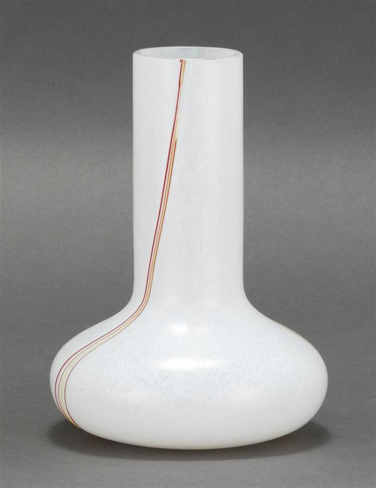 KOSTA BODA ART GLASS VASE In squat ovoid form with cylindrical neck. Decorated with green, yellow, lavender, and orange stripes on a...