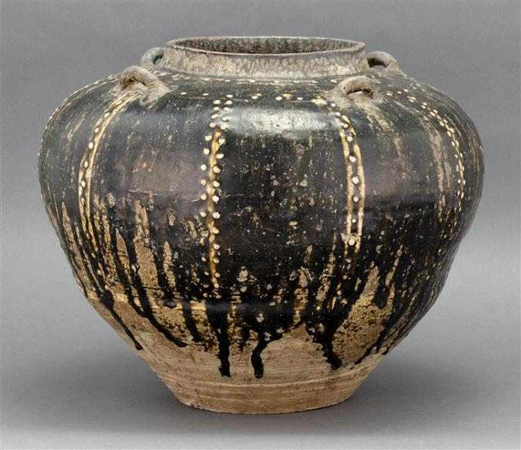 BURMESE POTTERY JAR In ovoid form with four loop handles and beaded stripe design. Rich black-brown glaze on a gray clay body. Heigh...