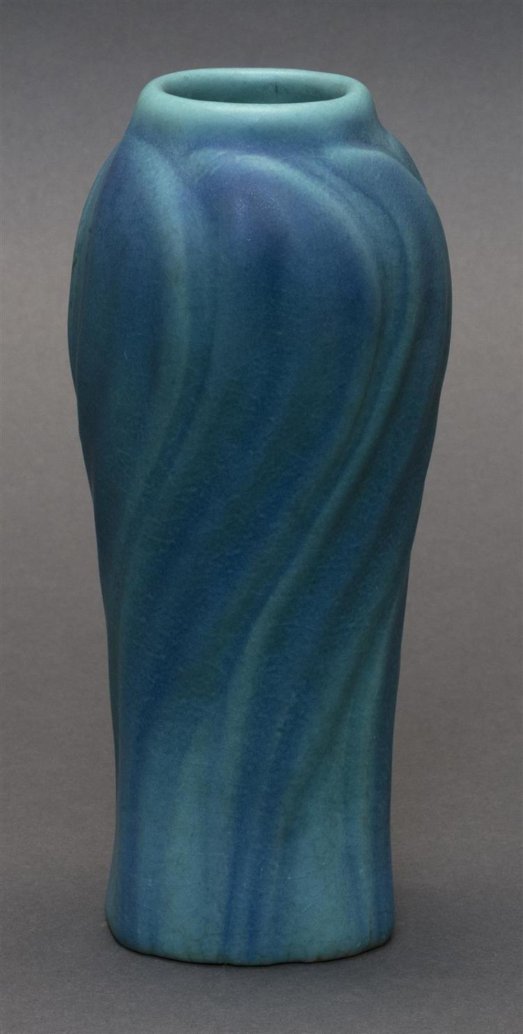 ARTUS VAN BRIGGLE ART POTTERY VASE With shaded blue swirl design. Signed with monogram and marked
