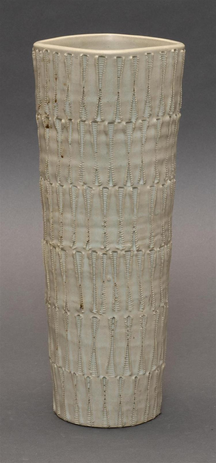 STUDIO POTTERY VASE In cylinder form with banded design of six series of leaf-like elements. Sosho signature on base. Height 12