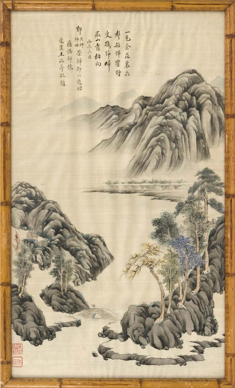 SCROLL PAINTING ON SILK Depicting a figure crossing a bridge in a mountain and river landscape. Marked with calligraphy and two seal...