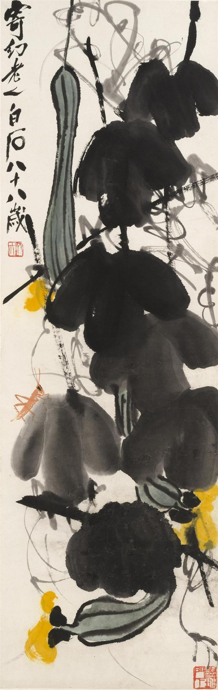SCROLL PAINTING ON PAPER By Qi Baishi. Depicting gourds and a grasshopper. Signed and marked with two seal marks. 40.5