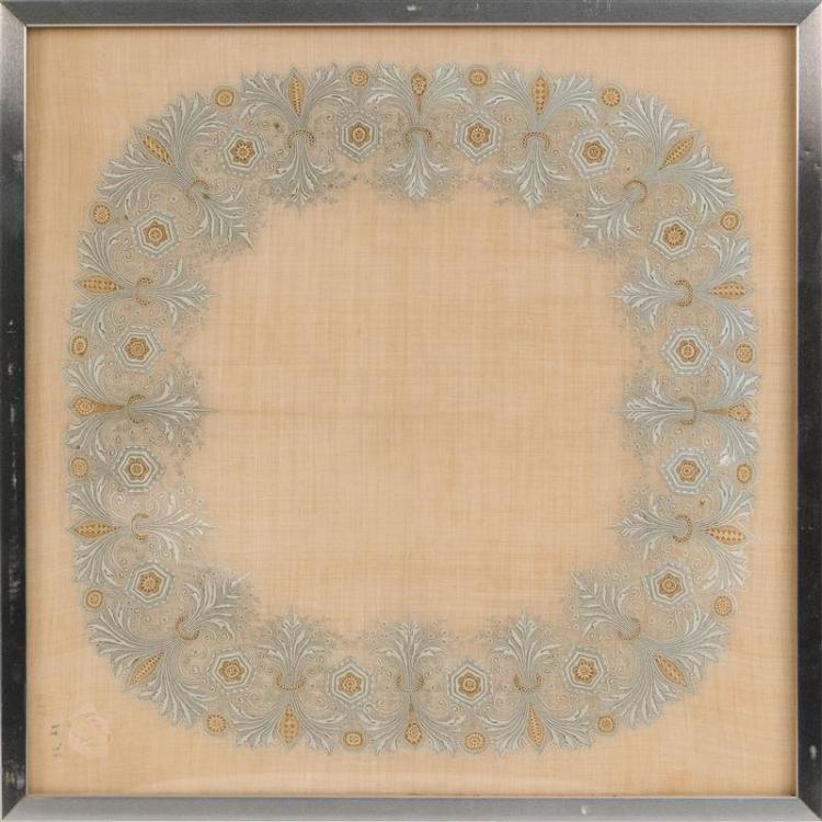 SUPERBLY EMBROIDERED SILK HANDKERCHIEF In a wreath design. 15