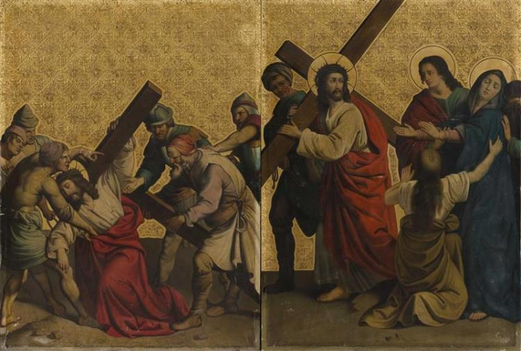 PAIR OF PAINTINGS ON TIN In pre-Raphaelite style depicting two Stations of the Cross. Textured gold background. 26