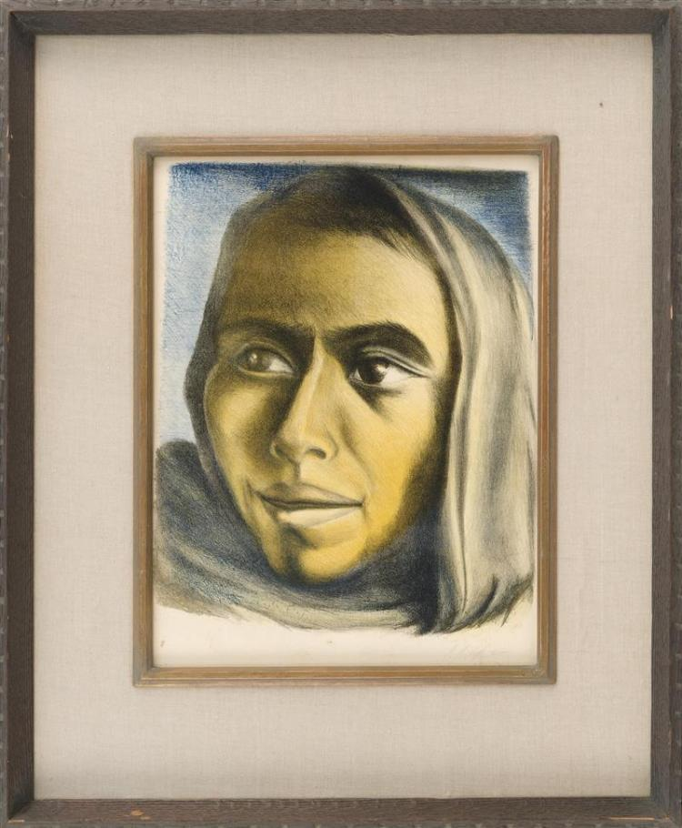 CELIA CALDERON, Mexican, 1921-1969, Portrait of a woman, Lithograph, 18