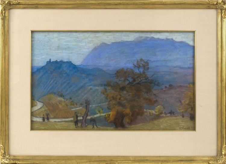 TOMMASO CASCELLA, Italian, 1890-1968, European figural landscape., Pastel, 14.25