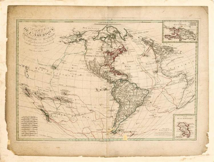 MOUNTED MAP OF THE WORLD By Lotter Brothers. Depicting the voyages of Captain Cook. Laid down, 24.75