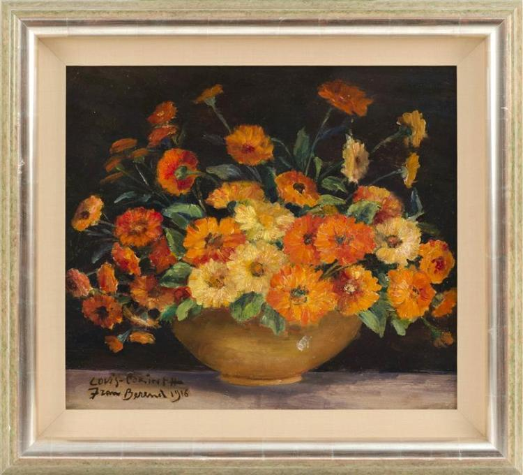 FRAN BEREND, 20th Century, Still life of nasturtiums., Oil on panel, 15.5