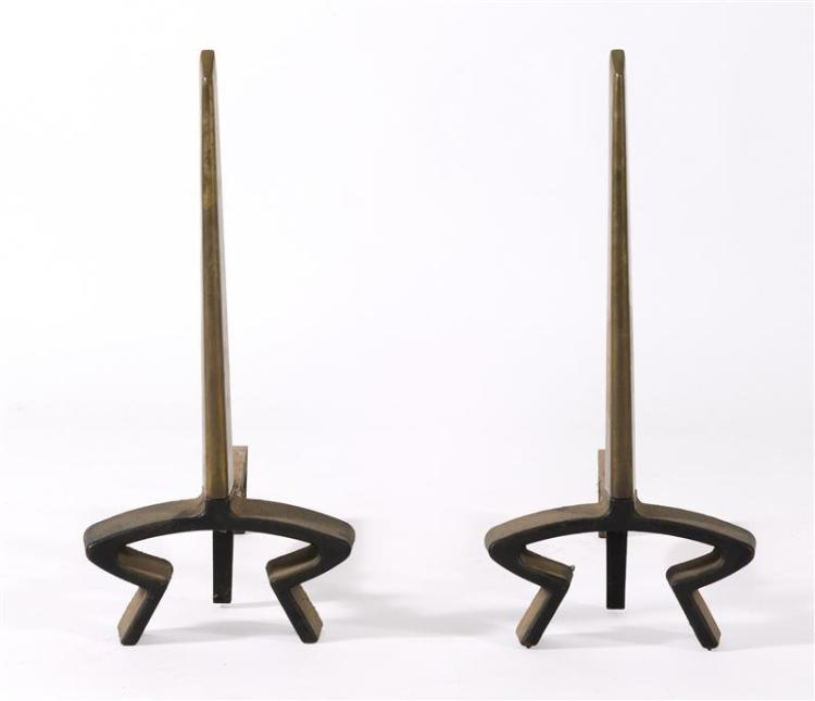 PAIR OF BRONZE AND IRON ART DECO ANDIRONS By Bennett. In modified obelisk design. Heights 19.5