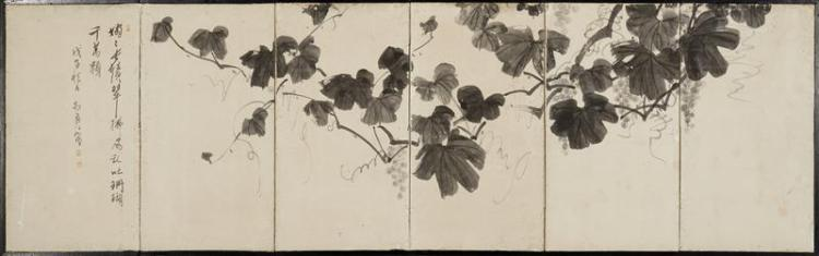 SIX-PANEL FOLDING TEA SCREEN With grapevine decoration. On paper with sosho signature and inscription. Height 25.25