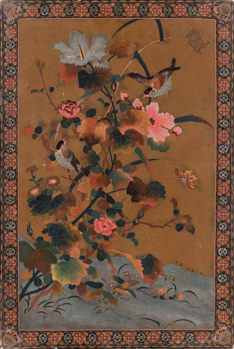 LACQUERED WOOD PANEL Simulating cloisonné with depictions of birds and flowers. 21.5