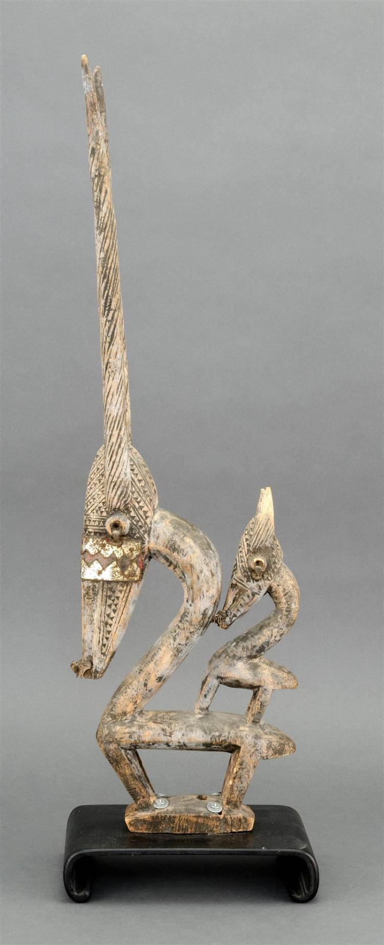 BAMBARAN ANTELOPE HEADDRESS Depicting an antelope and its young. Height 27.5