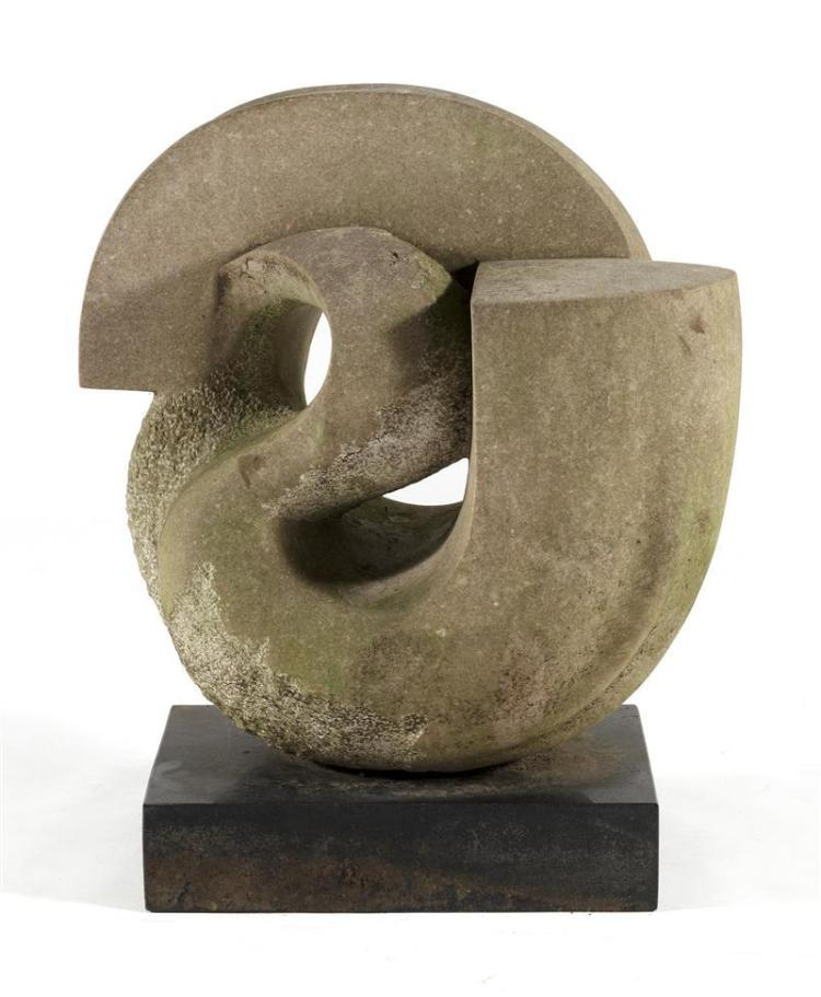 DEAN LEARY, North Carolina, Virginia, b. 1945, In comma form with polished and rough surfaces., Red marble sculpture, height overall...