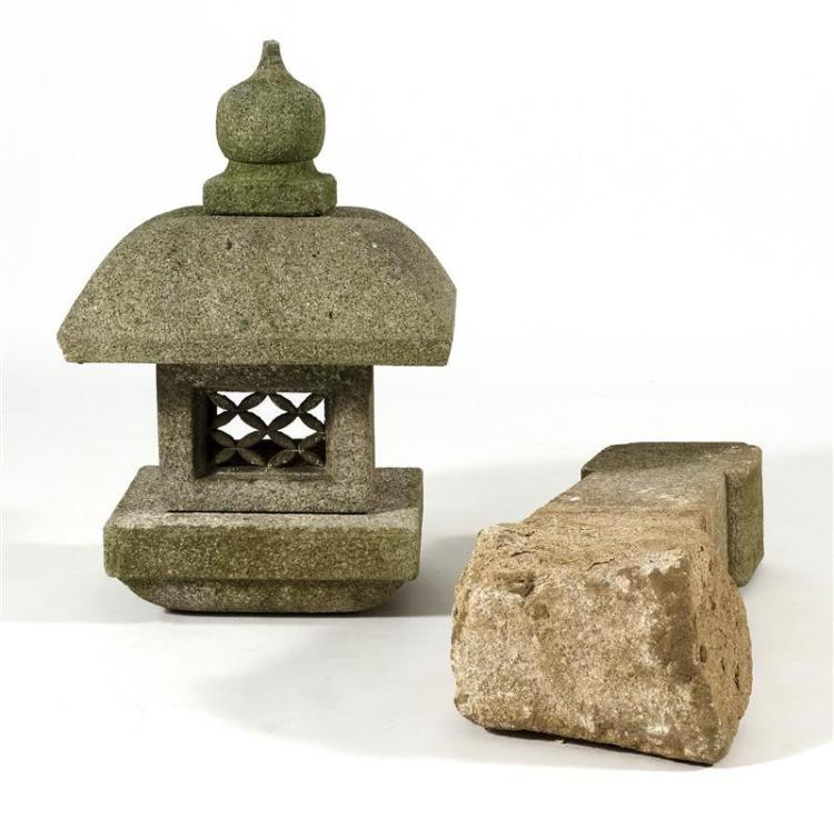 STONE LANTERN (TORO) In rectangular form with onion finial. Height approximately 46