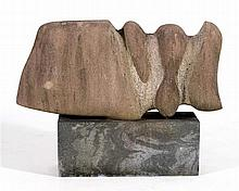 DEAN LEARY, North Carolina, Virginia, b. 1945, Modified fish design., Red marble sculpture, height 22