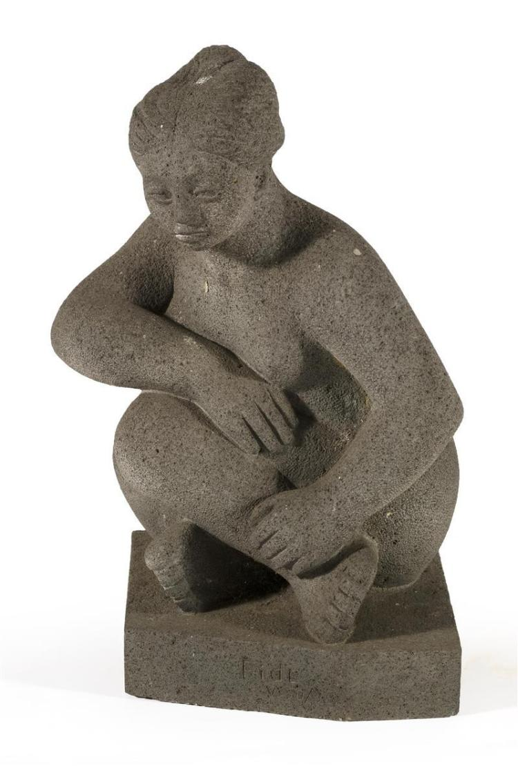 FIDELO CAVALLO, Mexican, 20th Century, Gray stone figure of a nude, Volcanic granite sculpture, height 25.5