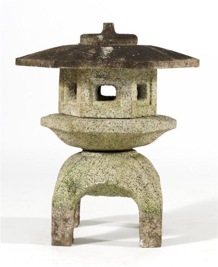 STONE LANTERN (TORO) In hexagonal form. Height 28