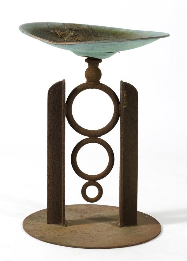 COPPER AND IRON BIRD BATH By Tom Toles. In graduated circular design. Height 21.5