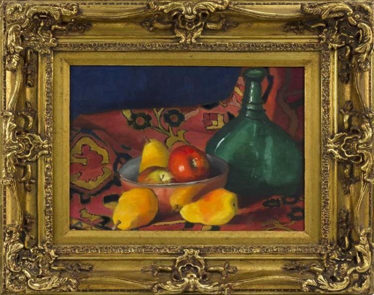 MILDRED VOORHEES, North Carolina, 1924–2007, Still life with fruit and a bottle., Oil on canvas, 12