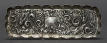 VICTORIAN STERLING SILVER PEN TRAY Dimier Brothers & Co. (Charles Dimier). Rectangular and repoussé-decorated with birds and Rococo-...