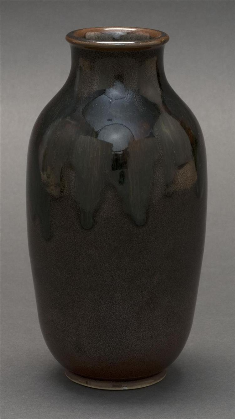 STUDIO PORCELAIN VASE In a rich brown glaze. Potter's mark on base. Height 7.5