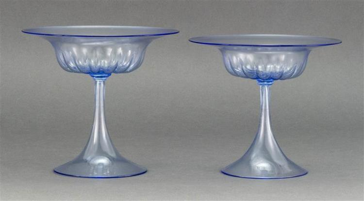 PAIR OF VENETIAN GLASS COMPOTES In light blue with melon ribbing on bowl. Conical foot. Heights 6.75
