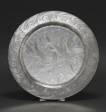 TIFFANY & CO. STERLING SILVER PLATTER Circular with acid-etched scrolled design featuring the monogram