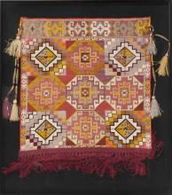 TURKISH KILIM SAMPLER In woven silk with a cross pattern and nine medallions. 20
