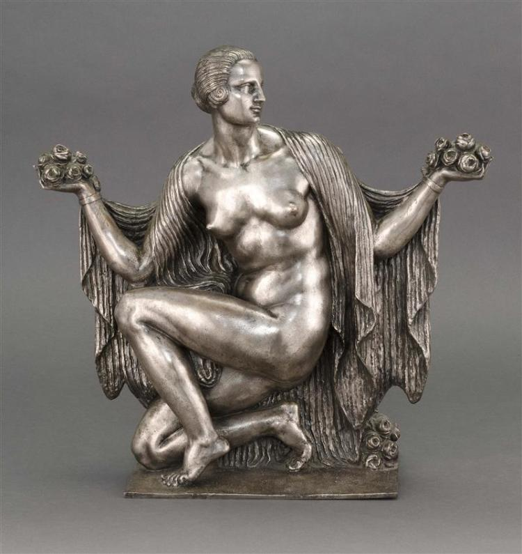 JOSEPH JULES EMMANUEL CORMIER (JOE DESCOMPS), French, 1869-1950, Art Deco silvered-bronze sculpture, Bronze sculpture, height 17.25