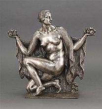 JOSEPH JULES EMMANUEL CORMIER (JOE DESCOMPS), French, 1869-1950, Art Deco silvered-bronze sculpture, Bronze sculpture, height 17.25