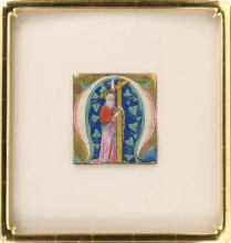 BIBLICAL ILLUMINATION The letter Omega, depicting an elderly figure holding a cross. 6.75