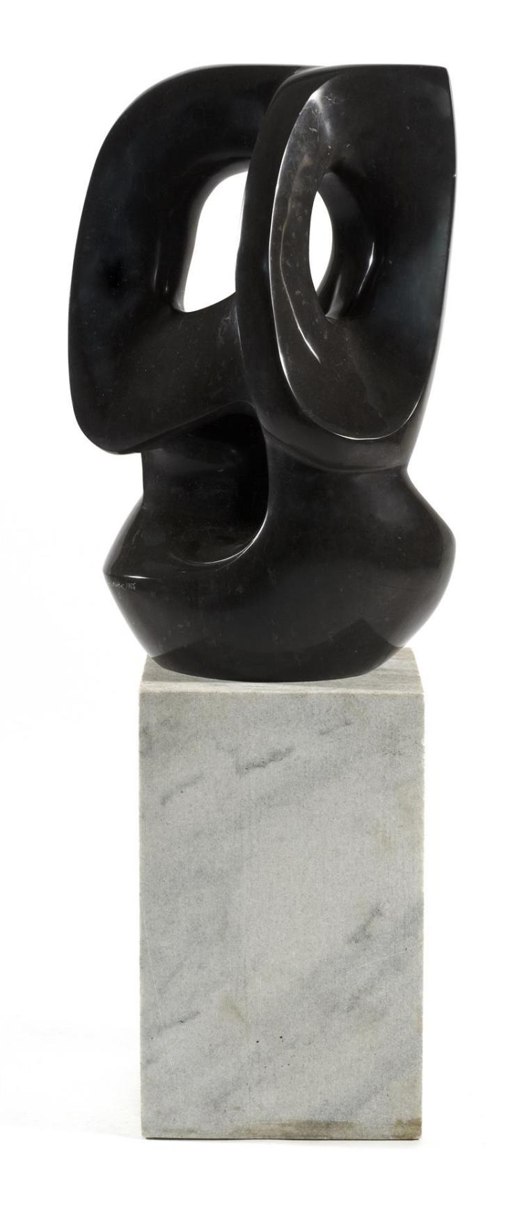 JULIE WARREN MARTIN, Tennessee, Kentucky, b. 1943, Depicting entwined ovals., Black marble sculpture, height 25