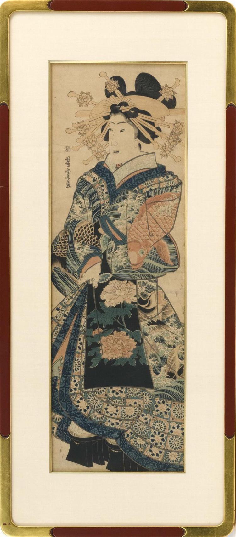 UTAGAWA YOSHITORA Mid-19th Century. A woman wearing a peony and carp-design kimono. Framed 36