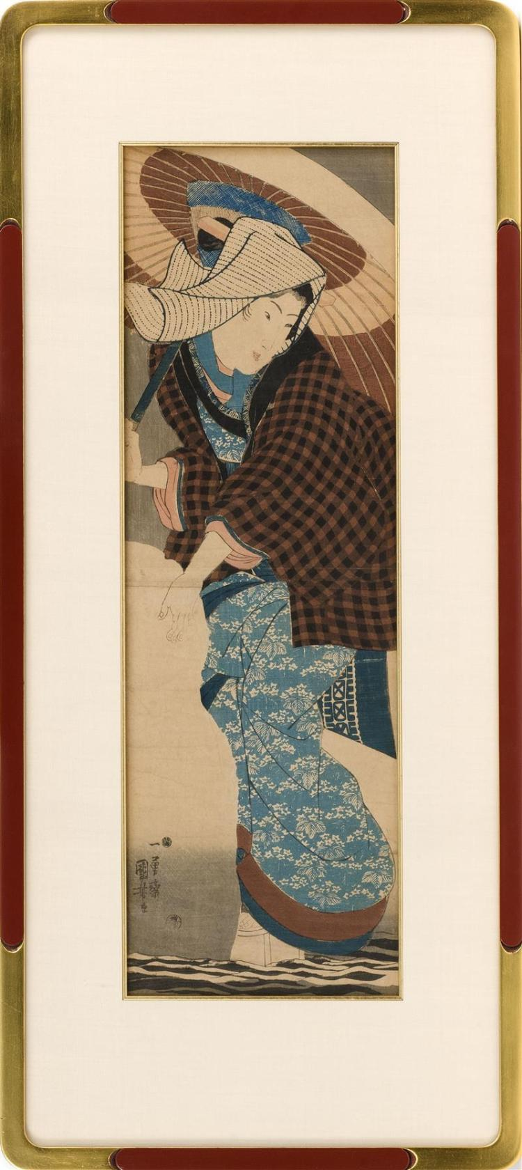 UTAGAWA KUNIYOSHI A woman wearing a black and brown checkered jacket and carrying an umbrella. Framed 36
