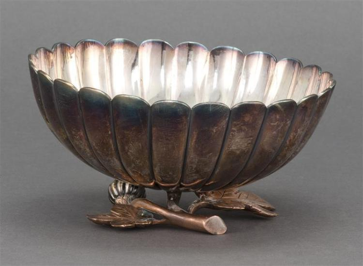 GOLD, SILVER, AND BRONZE BOWL In twenty-four petal chrysanthemum form. Copper-bronze base with silver blossoms. Center of flower in...