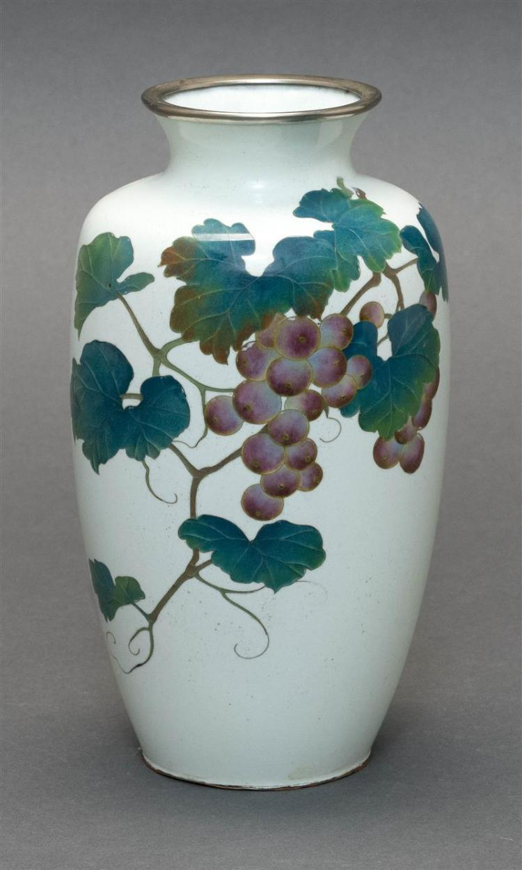 CLOISONNÉ ENAMEL VASE In a grapevine design on a cream ground. Height 7
