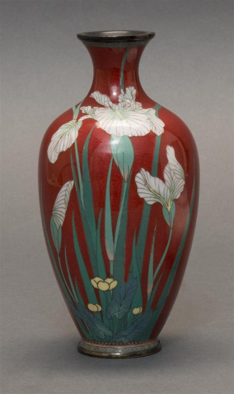 CLOISONNÉ ENAMEL VASE White iris design on a translucent red ground. Height 7